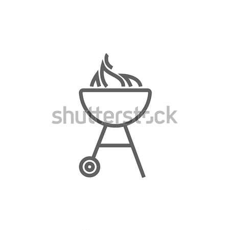 Bogrács barbecue grill rajz ikon vektor izolált Stock fotó © RAStudio