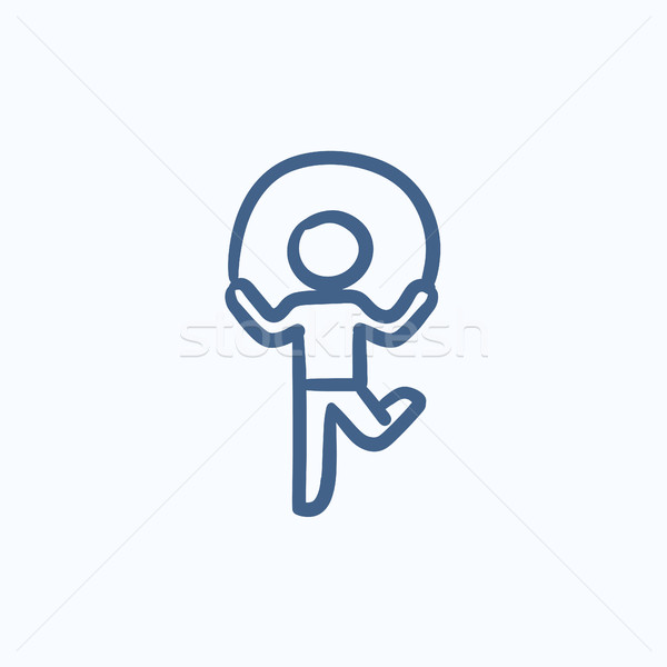 Child jumping rope sketch icon. Stock photo © RAStudio