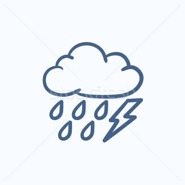 Cloud with rain and lightning bolt sketch icon. Stock photo © RAStudio