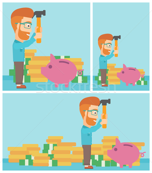 Man breaking piggy bank vector illustration. Stock photo © RAStudio
