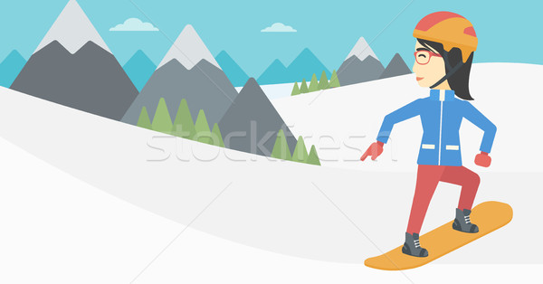 Young woman snowboarding vector illustration. Stock photo © RAStudio
