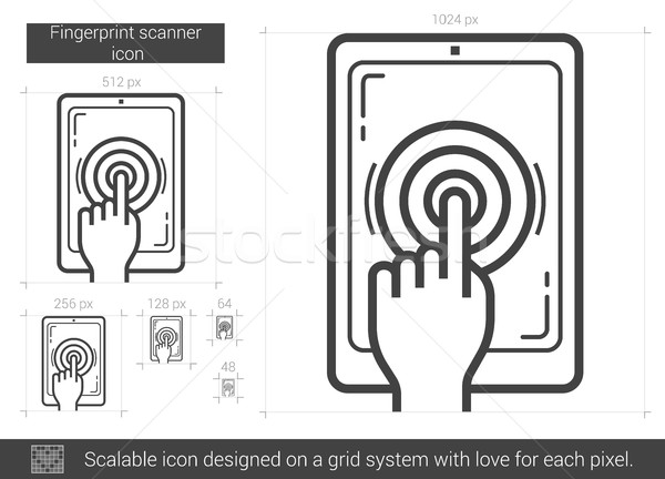 Ujjlenyomat szkenner vonal ikon vektor izolált Stock fotó © RAStudio