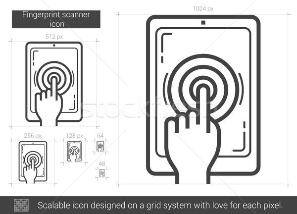Impronte digitali scanner line icona vettore isolato Foto d'archivio © RAStudio