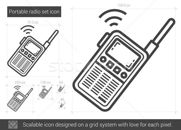 Hordozható rádió szett vonal ikon vektor Stock fotó © RAStudio