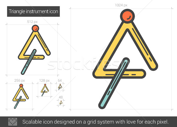 Driehoek instrument lijn icon vector geïsoleerd Stockfoto © RAStudio