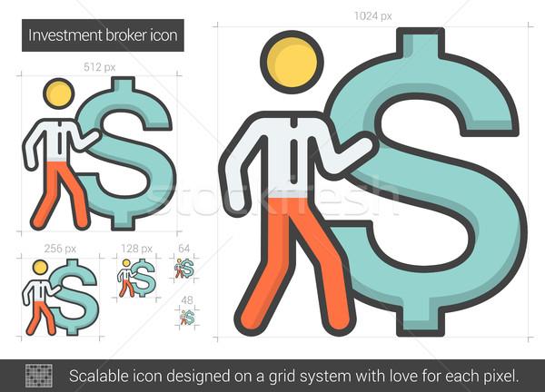 Investitionen Broker line Symbol Vektor isoliert Stock foto © RAStudio