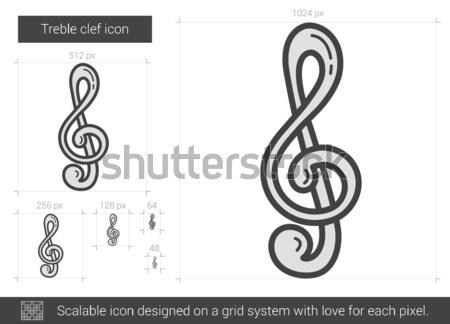 Klucz wiolinowy line ikona wektora odizolowany biały Zdjęcia stock © RAStudio