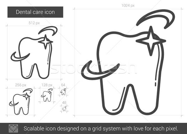 Zahnpflege line Symbol Vektor isoliert weiß Stock foto © RAStudio