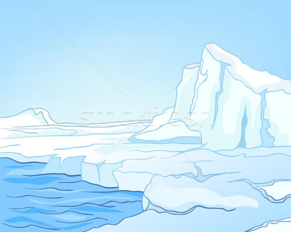 Rajz gleccser tájkép kézzel rajzolt tél színes Stock fotó © RAStudio