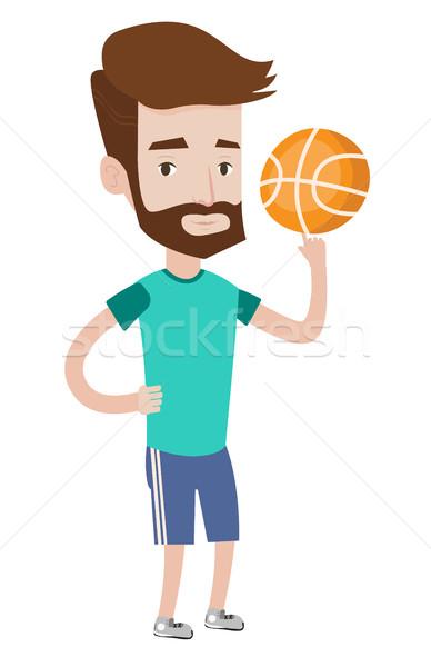 Hipster Ball Bart Basketball Finger Stock foto © RAStudio