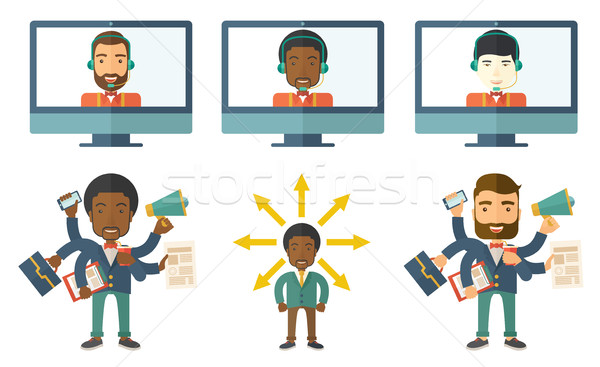 Vetor conjunto ilustrações pessoas de negócios empresário multitarefa Foto stock © RAStudio
