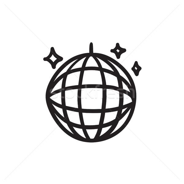 Disco ball szkic ikona wektora odizolowany Zdjęcia stock © RAStudio