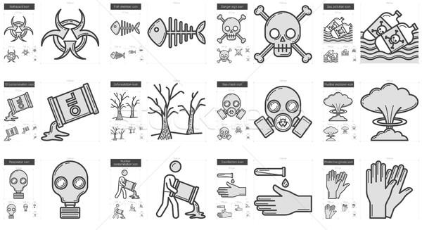 Ecology biohazard line icon set. Stock photo © RAStudio