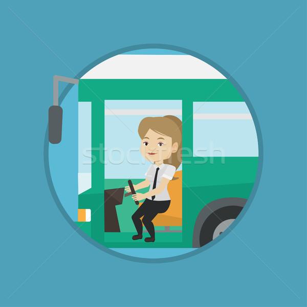 Stok fotoğraf: Kafkas · otobüs · sürücü · oturma · direksiyon · genç