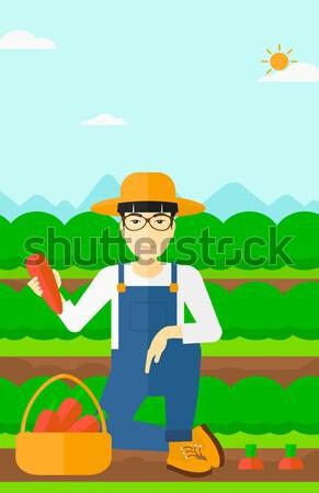 農家 じょうろ フィールド 立って 農業の 緑 ストックフォト © RAStudio