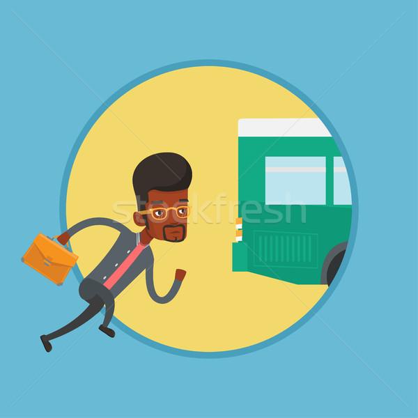 Latecomer man running for the bus. Stock photo © RAStudio