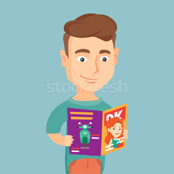 Man reading magazine vector illustration. Stock photo © RAStudio