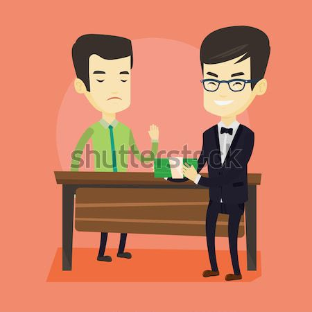 Uncorrupted business man refusing to take bribe. Stock photo © RAStudio