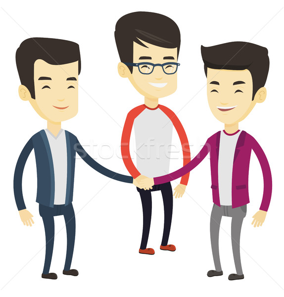 Stock photo: Group of business men joining hands.