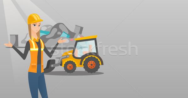 работник бульдозер мусор Постоянный оружия женщину Сток-фото © RAStudio