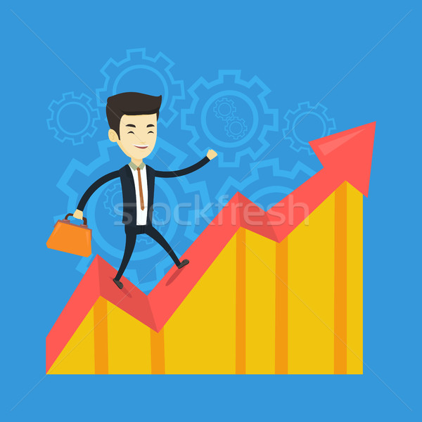 Happy business man standing on profit chart. Stock photo © RAStudio