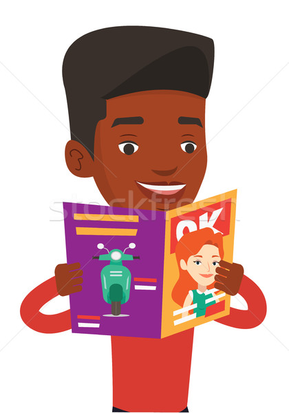 Stock photo: Man reading magazine vector illustration.