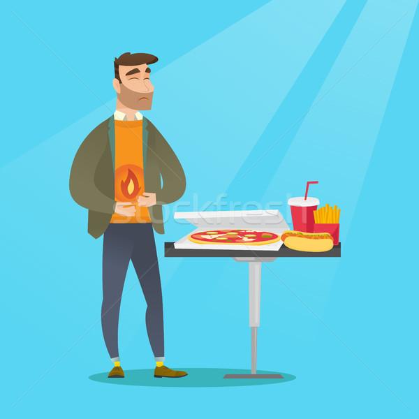 Man suffering from heartburn vector illustration Stock photo © RAStudio