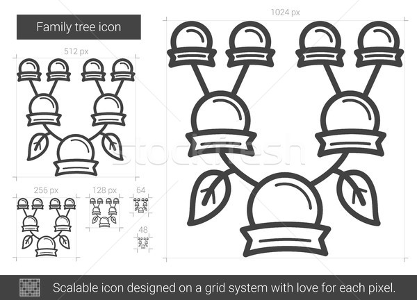 Rodziny drzewo line ikona wektora odizolowany Zdjęcia stock © RAStudio