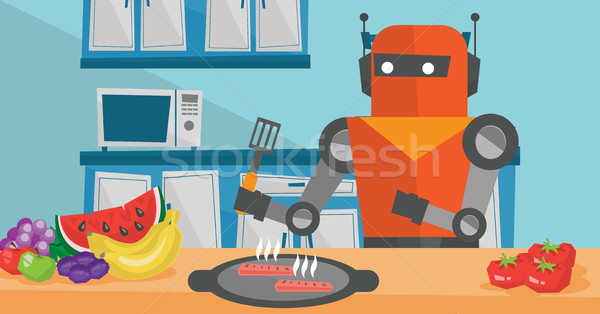 Stock photo: Robot housewife preparing breakfast at kitchen.