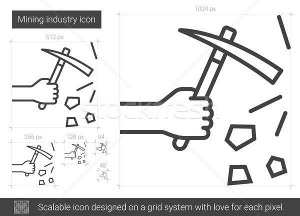 Bányászat ipar vonal ikon vektor izolált Stock fotó © RAStudio
