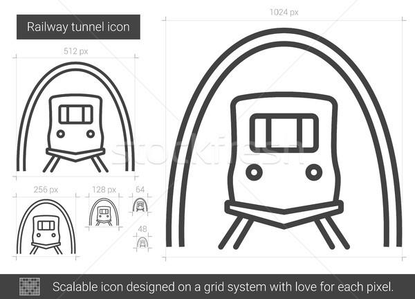 Kolej żelazna tunelu line ikona wektora odizolowany Zdjęcia stock © RAStudio