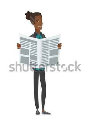 Zakenman lezing krant asian gelukkig permanente Stockfoto © RAStudio