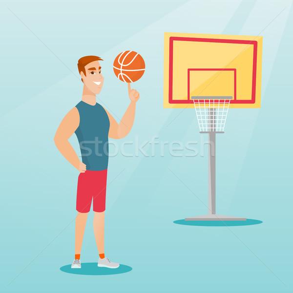 Stock fotó: Fiatal · kaukázusi · kosárlabdázó · labda · ujj · profi