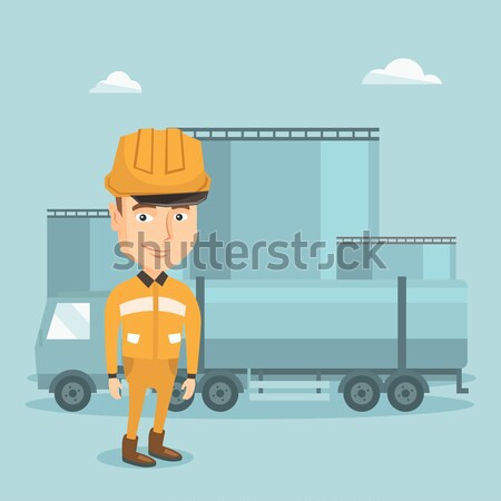 Trabajador combustible camión refinería petróleo gas Foto stock © RAStudio