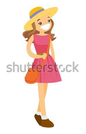 Young caucasian white woman in panama hat. Stock photo © RAStudio