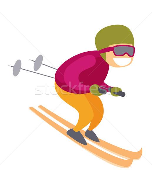 Caucasian white skier skiing downhill in mountains Stock photo © RAStudio