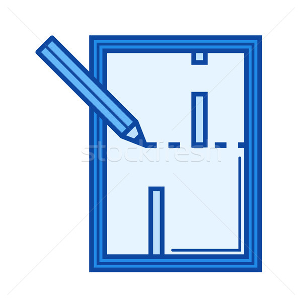 Stockfoto: Appartement · plan · lijn · icon · vector · geïsoleerd