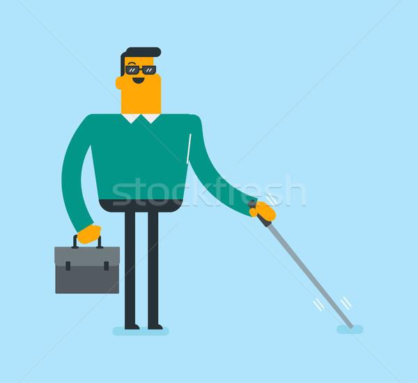 Młodych biały niewidomych człowiek Stick Zdjęcia stock © RAStudio