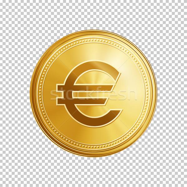 Arany Euro érme szimbólum arany kör Stock fotó © RAStudio