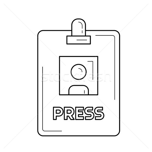 Presse badge ligne icône vecteur isolé Photo stock © RAStudio