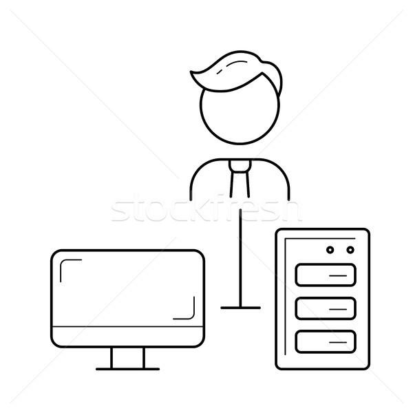 Social networking linha ícone vetor isolado Foto stock © RAStudio