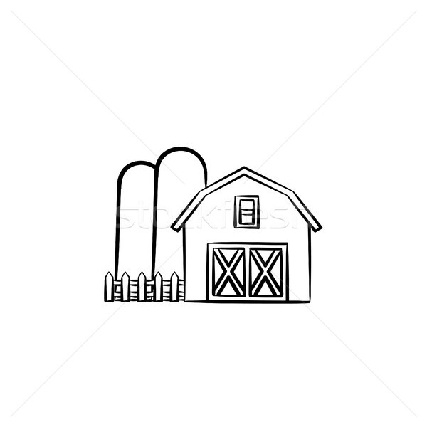 Stock photo: Farm shed hand drawn sketch icon.
