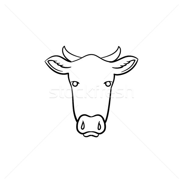 Cow head hand drawn sketch icon  vector illustration