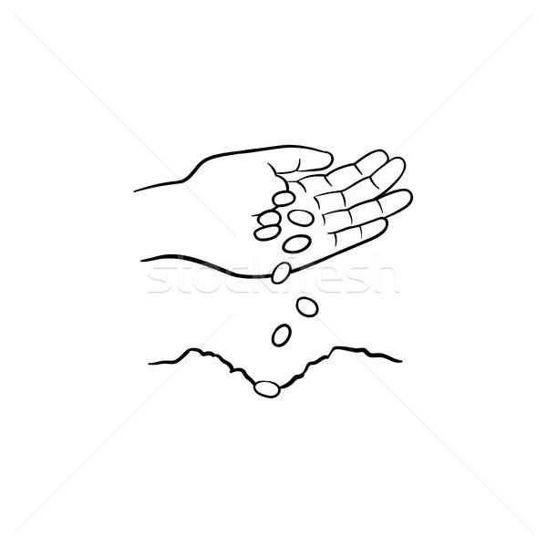 Hand planting seeds hand drawn sketch icon. Stock photo © RAStudio