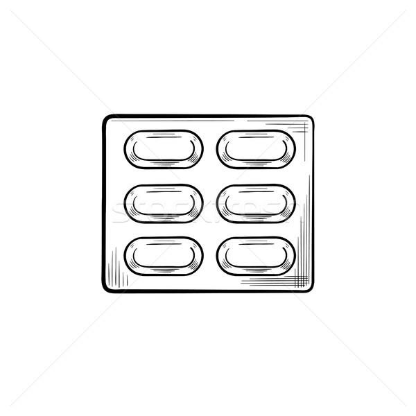 таблетки волдырь рисованной болван икона Сток-фото © RAStudio