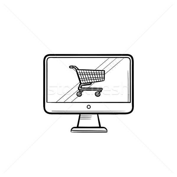 Pantalla del ordenador cesta de la compra dibujado a mano garabato icono Foto stock © RAStudio