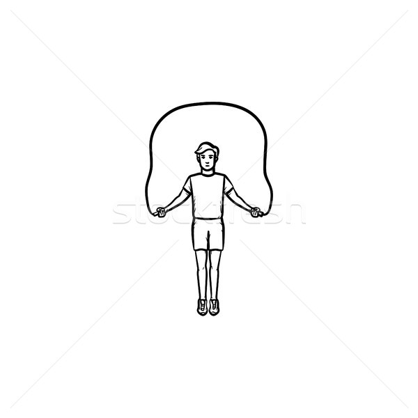 Sportsman skipping hand drawn outline doodle icon. Stock photo © RAStudio