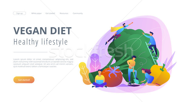 Vegan diet and healthy lifestyle landing page. Stock photo © RAStudio