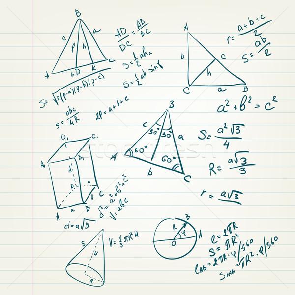 Vissza az iskolába rajz mértan lap vektor papír Stock fotó © RAStudio