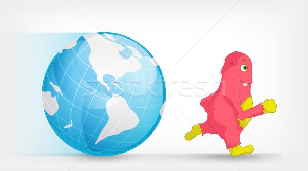 Globális felmelegedés rajzfilmfigura szörny vektor eps 10 Stock fotó © RAStudio